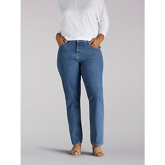 100% Cotton Relaxed Fit Straight Leg Jean - Plus