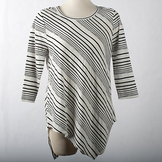 Asymmetric Hem Stripe Pullover Top - Plus