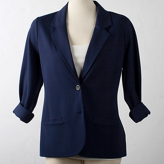 Soft Tailored Knit Two Button Blazer - Plus