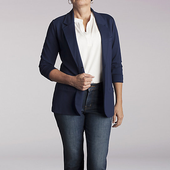 Soft Tailored Knit Two Button Blazer