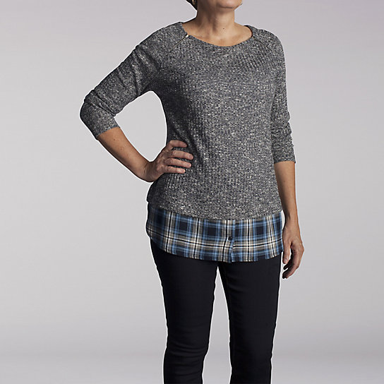 Heathered Ribbed Hatchi with Plaid Insert Drop Hem Top