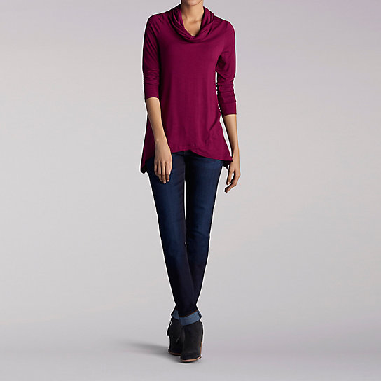 Long Sleeve Solid Cowl Neck Shirt