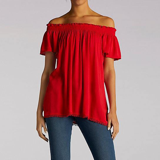 Short Sleeve Flowy Top With Hem Detail