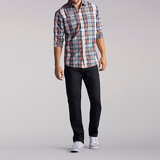Long Sleeve Two Pocket Plaid Shirt