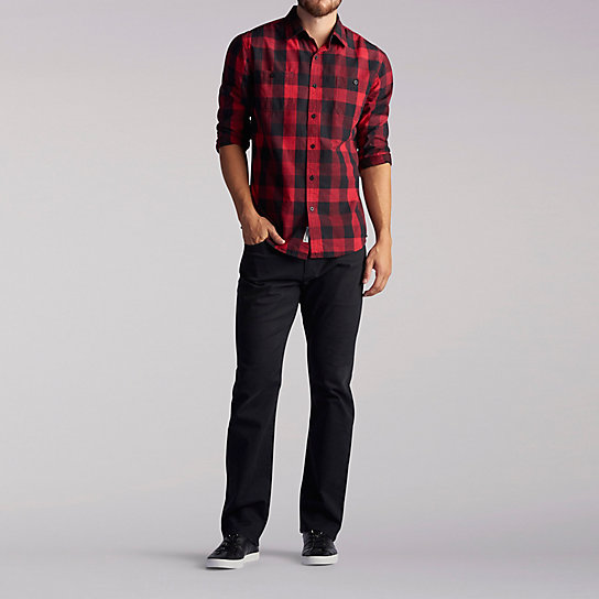 Long Sleeve Two Pocket Buffalo Plaid Shirt