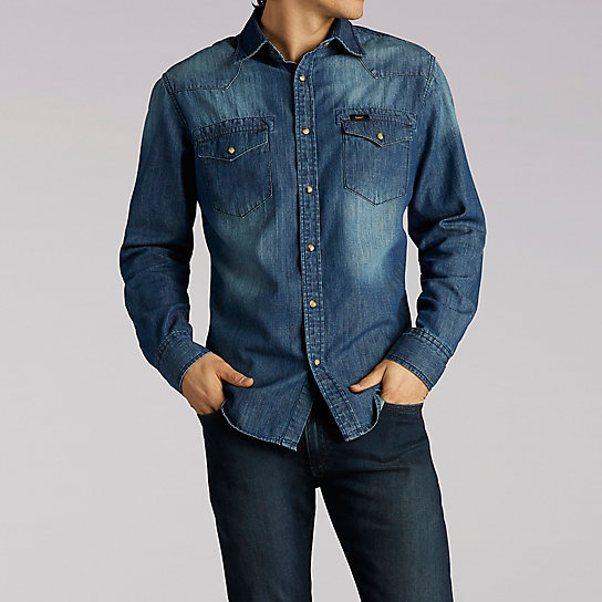 Long Sleeve Vintage Wash Western Denim Shirt