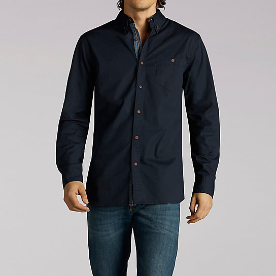 Long Sleeve One Pocket Shirt With Trim Detail
