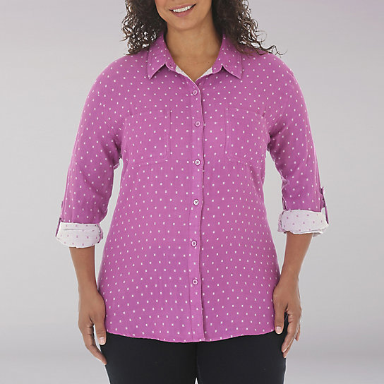 Riders by Lee Blakely L/S Dobby Dot With Roll Cuff - Plus