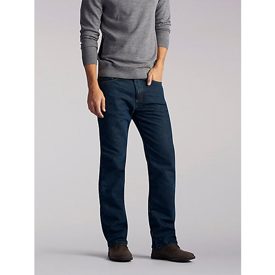 Relaxed Fit Flannel & Fleece Lined Straight Leg Jeans
