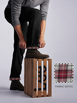 Men's Relaxed Fit Flannel and Fleece Lined Straight Leg Jean