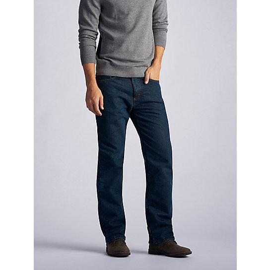 Relaxed Fit Fleece Lined Straight Leg Jeans - Big & Tall