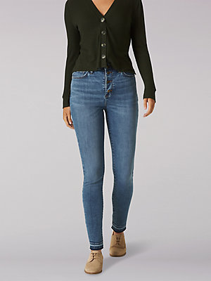 Women's High Rise Slim Fit Skinny Button-Fly Jean