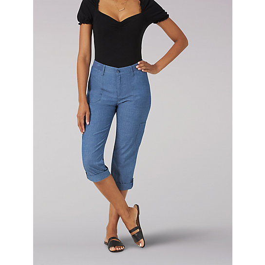 Women's Flex-To-Go Relaxed Fit Cargo Capri - Petite