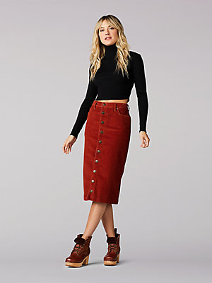 Women's Vintage Modern High Rise Midi Skirt