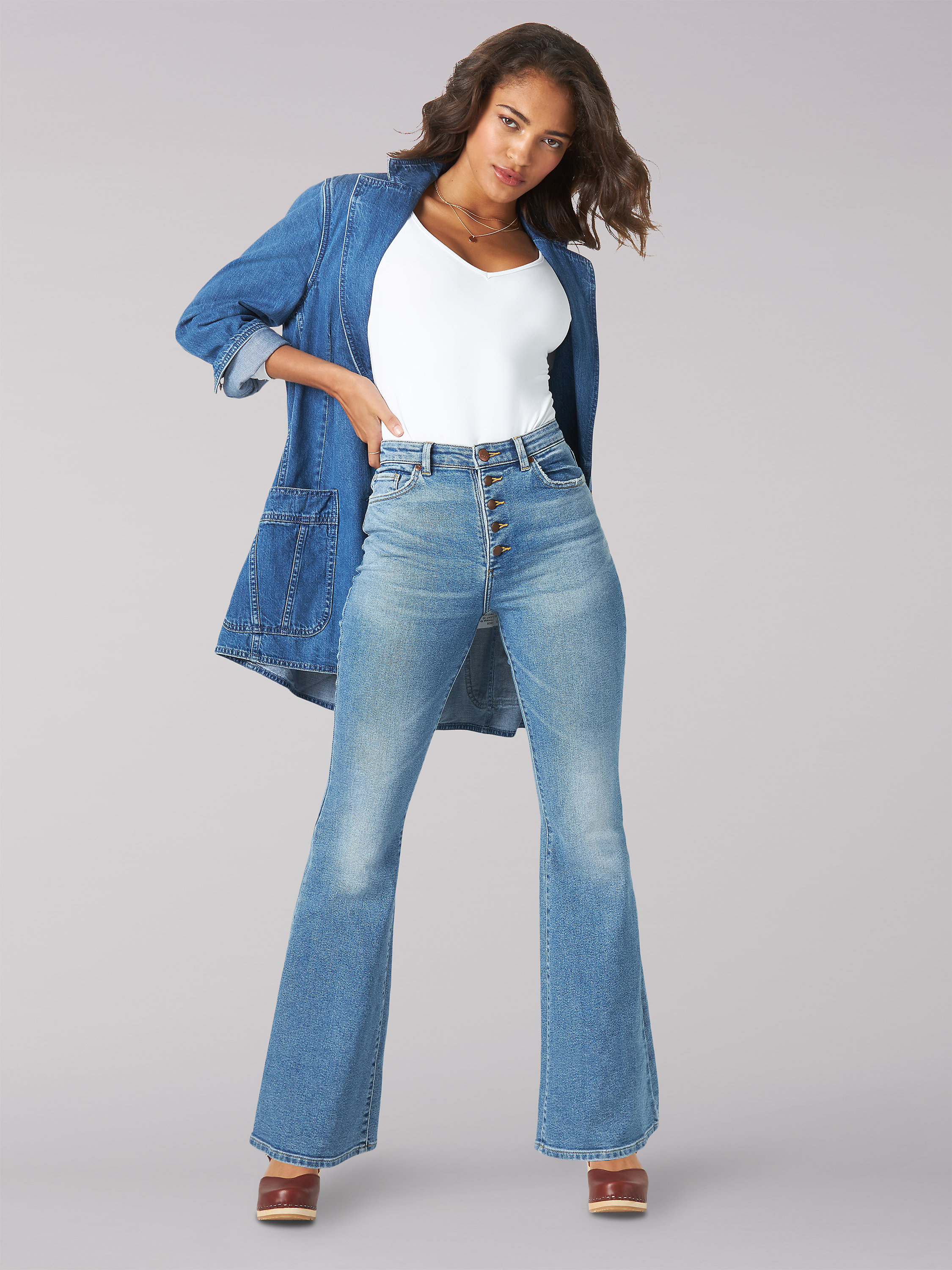 WOMEN'S VINTAGE MODERN HIGH RISE BUTTON-FLY FLARE JEAN
