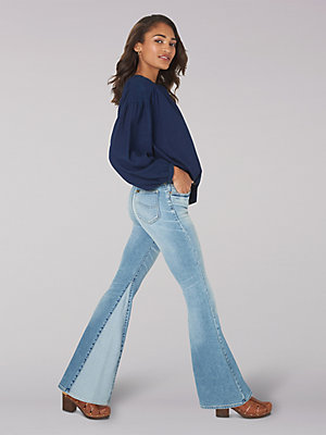 Women's Vintage Modern High Rise Inseam Panel Flare Jean