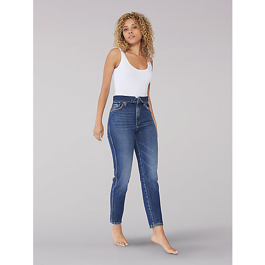 Vintage Modern High Rise Mom Jean - Eternal Blue