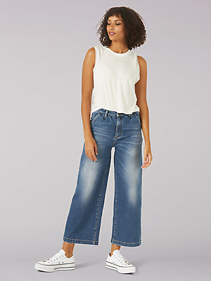 Women's Vintage Modern High Rise Gathered Wide Leg Crop Stretch Jean