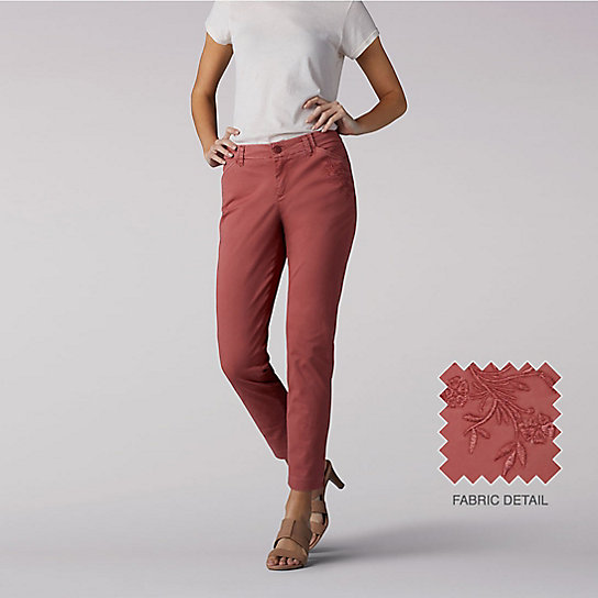 Tailored Chino Ankle Pants - Embroidered