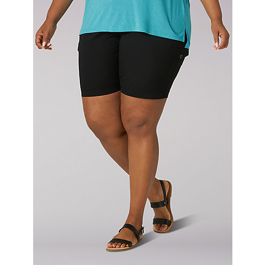 LEE Womens Plus Size Flex-to-go Relaxed Fit Cargo Bermuda Short