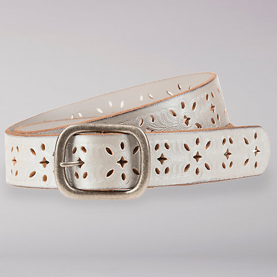 Embossed and Cut Out Designed Leather Belt - Women