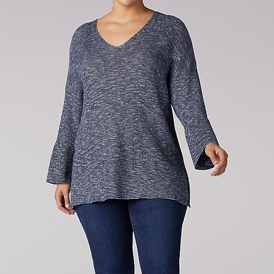 V-Neck Pull Over Sweater With Bell Sleeve - Plus