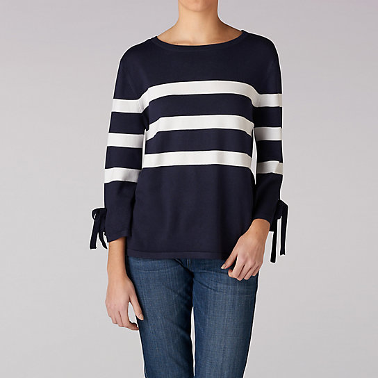 Stripe Pull Over Sweater With Sleeve Ties