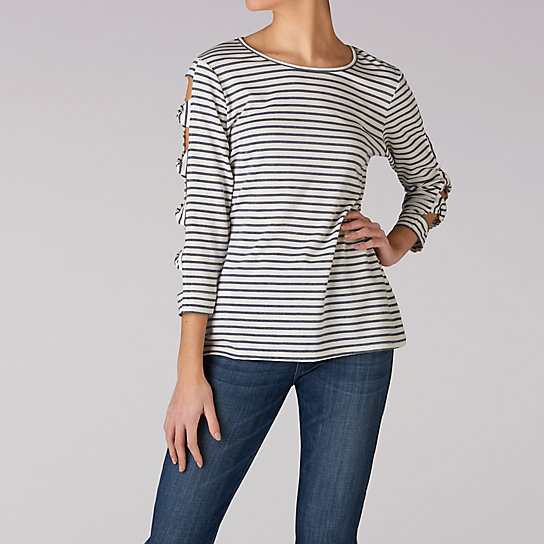 Stripe Top With Arm Detail