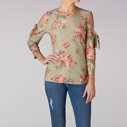 Floral Top With Cold Shoulder