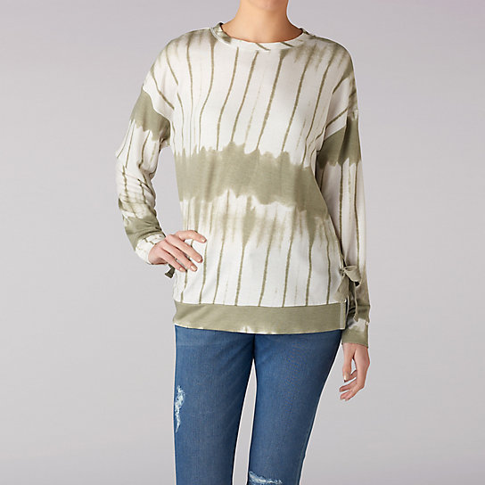 Tie Dye Pull Over Top With Tie Details