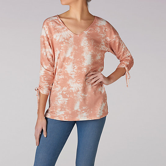 Tie Dye V-Neck Top With Tie Sleeves