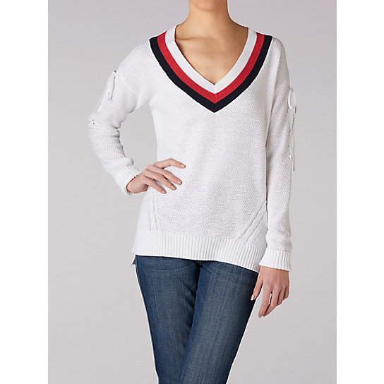 Women's Long Sleeve Sport Stripe V-Neck Sweater