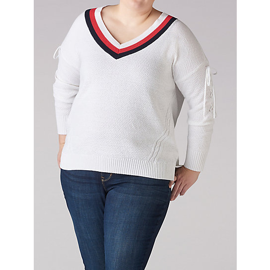 Long Sleeve Sport Stripe V-Neck Sweater - Plus