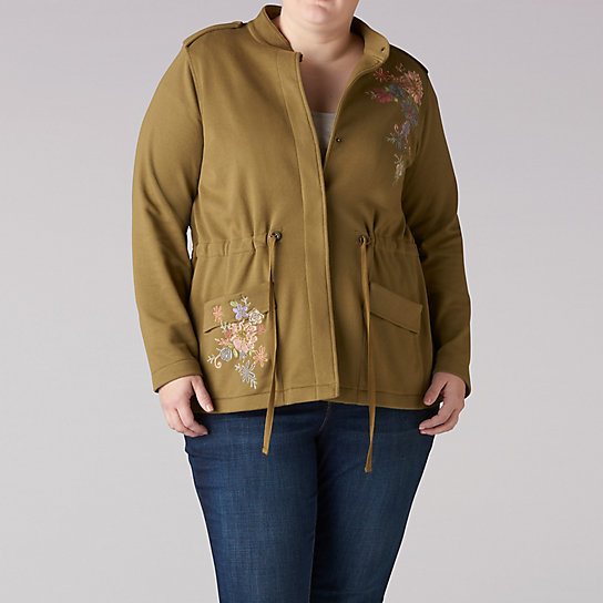 French Terry Embroidered Jacket - Plus
