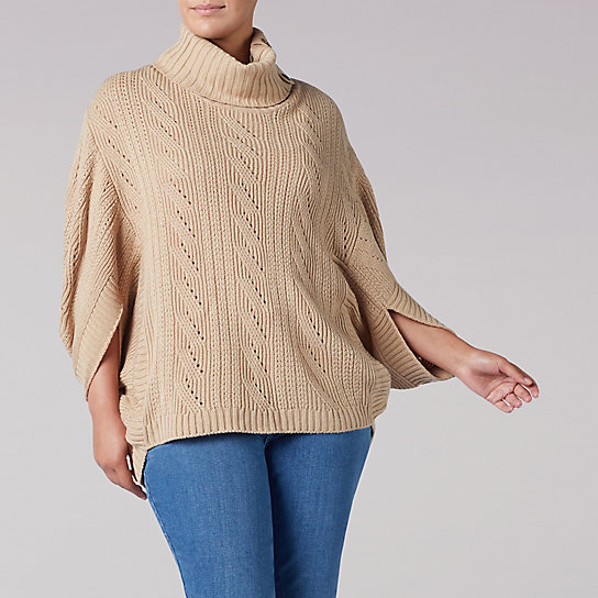 Split Neck Poncho - Plus