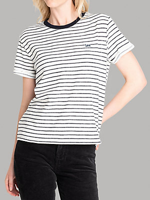 Women's Lee European Collection Short Sleeve Stripe Lee Logo Tee