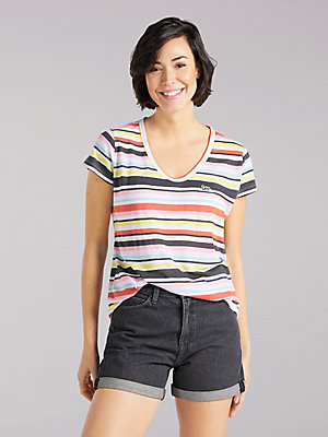 Women's Lee European Collection Scoop Neck Stripe Tee