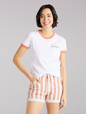 Women's Lee European Collection Ringer Lee Graphic Tee