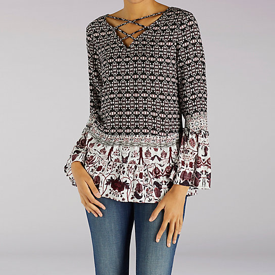 Multi Print Top With Flutter Sleeve And Lattice Neck