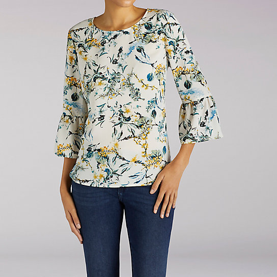 Printed Buble Crepe Flutter Sleeve Top