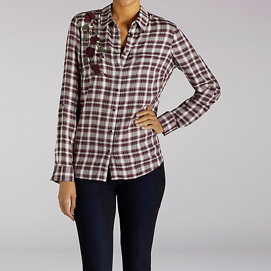 Button Front Embroidered Plaid Shirt