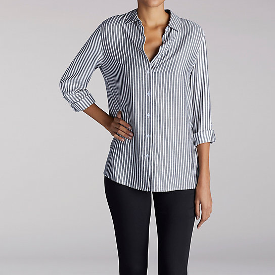 Long Sleeve Stripe Button Front Shirt