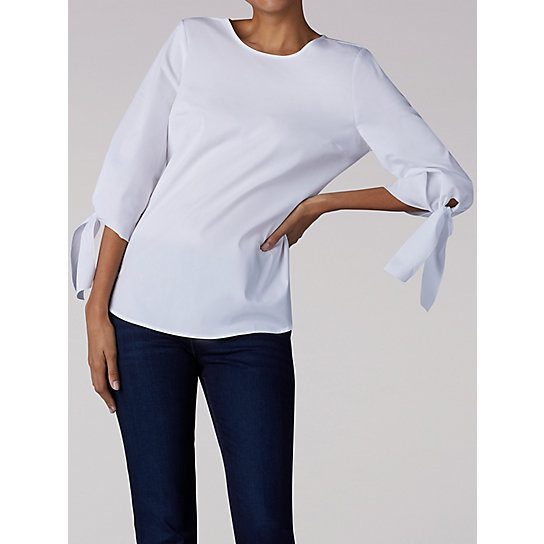 Women's Solid Top With Tie Sleeve Detail