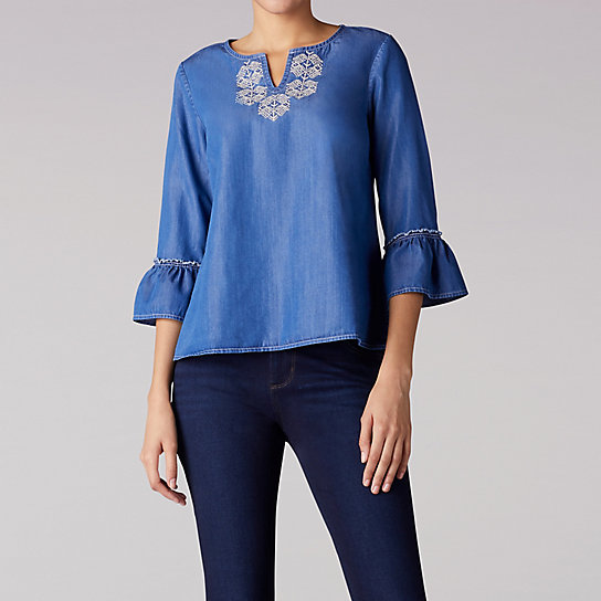 Denim Top With Bell Sleeves