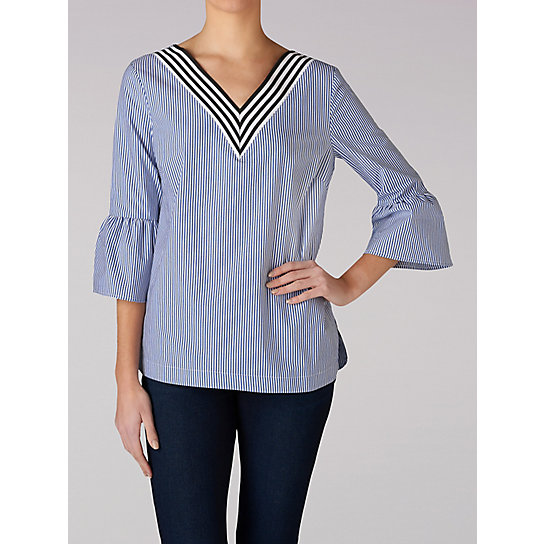 Stripe Bell Sleeve Top Withv-Neck Detail