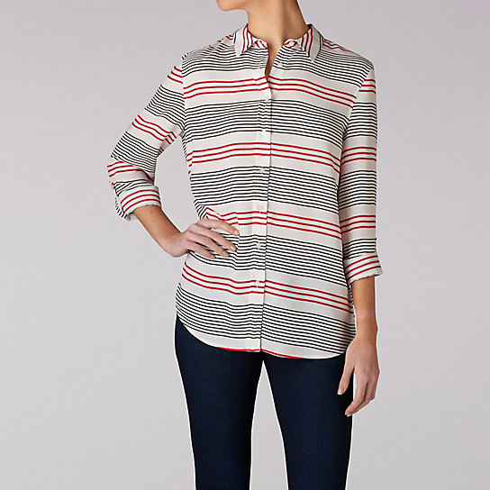 Stripe Print Button Front Top