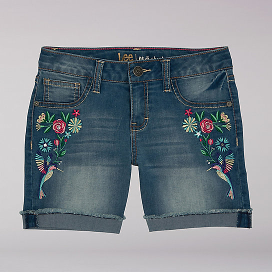 Flower And Bird Embroidered Mini Shorts - 7-16