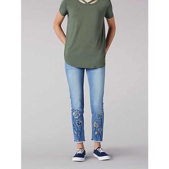 Flower Embroidery Ankle Crop Jeans - 7-16
