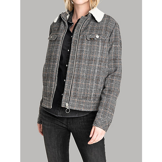 Women's Lee European Collection - Wool Check Sherpa Lined Rider Jacket