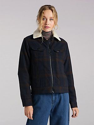Women's Lee European Collection Wool Check Sherpa Lined Rider Jacket